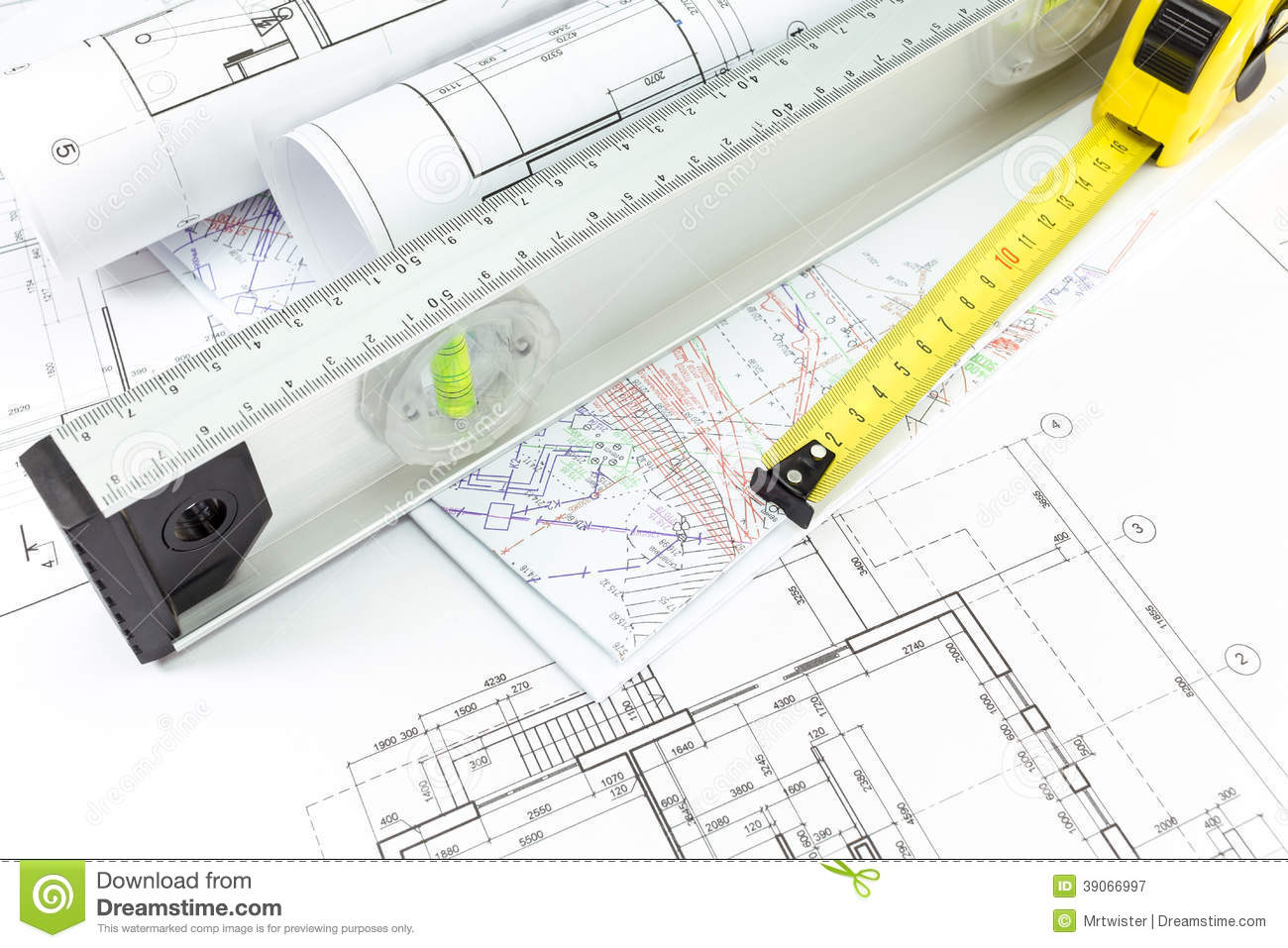 Architectural plans and measurement tools stock photo for Building design tool