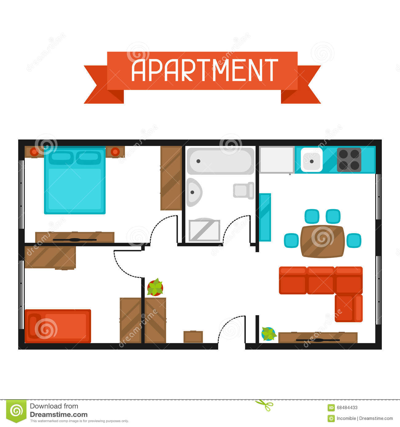 Apartment Websites: Architectural Project Of Apartment With Furniture. Image
