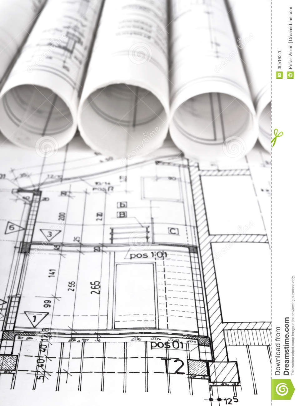 Architectural Project Architect Workplace Stock Photo Image Of