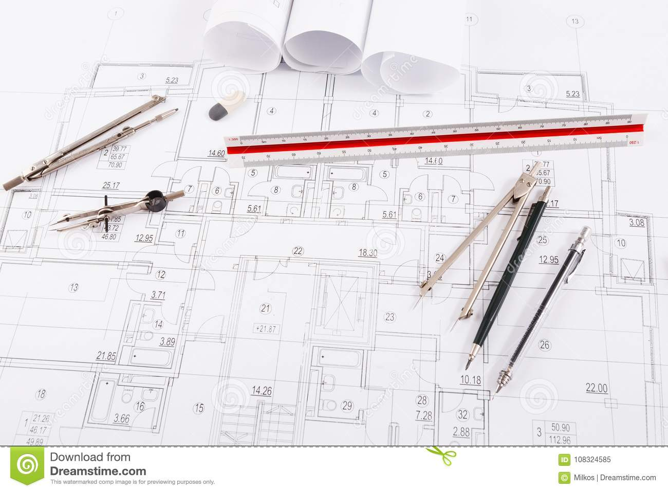Architectural project engineering tools on table stock image royalty free stock photo malvernweather Gallery
