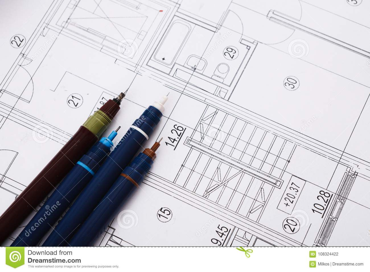 Architectural project engineering tools on table stock photo royalty free stock photo malvernweather Gallery