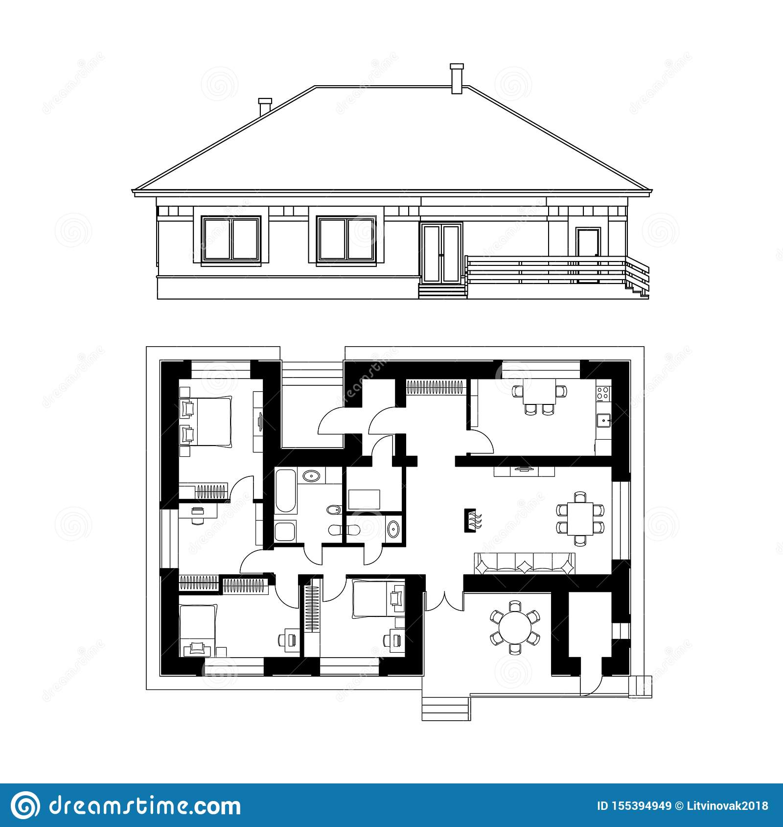 Architectural Project Of A House Drawing Of The Facade And Floor Plan Of The Cottage Vector Realistic Illustration Stock Vector Illustration Of Exterior Building 155394949