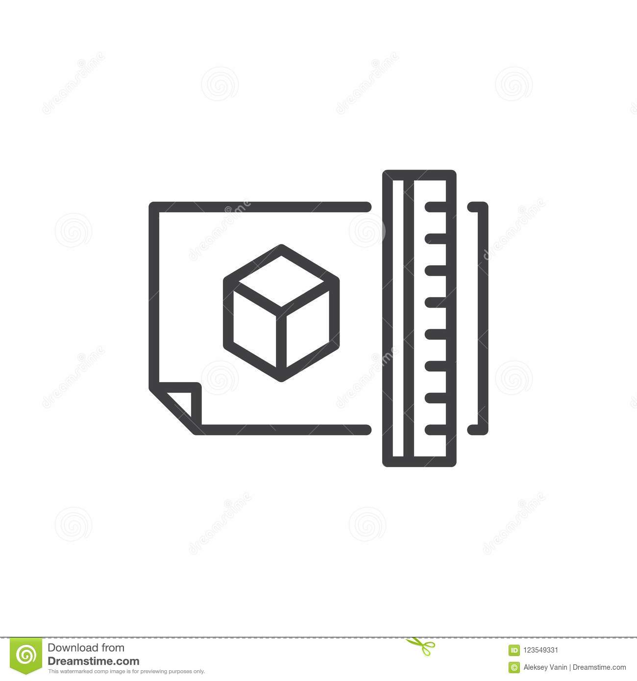 architectural project plan outline icon stock vector illustration