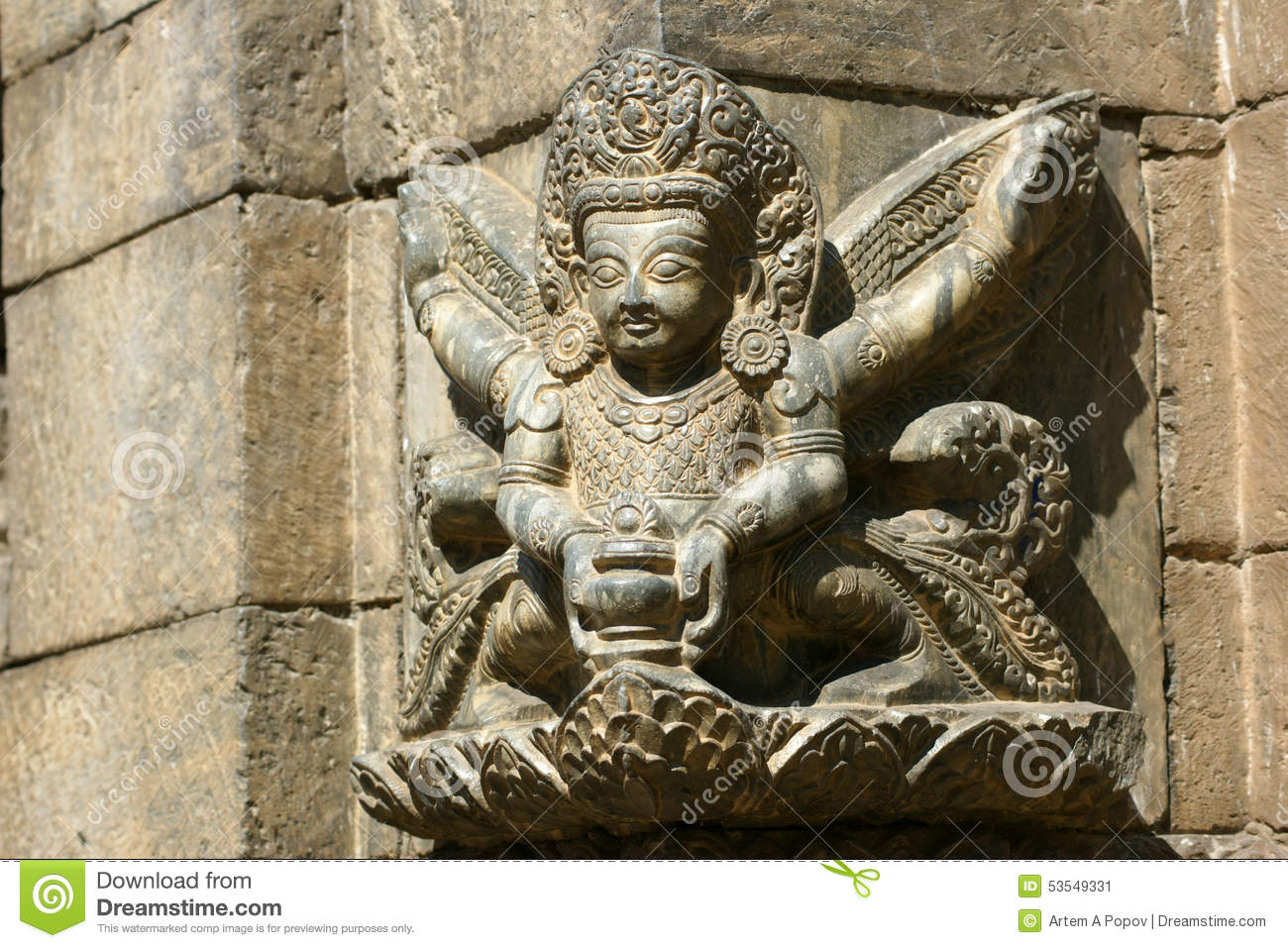 Architectural relief in kathmandu nepal stock photo