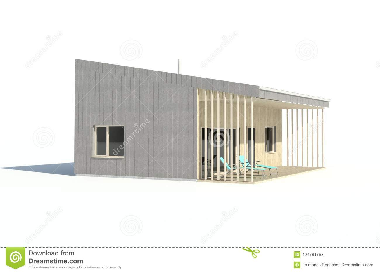 3d render - isolated visualisation of the single family house