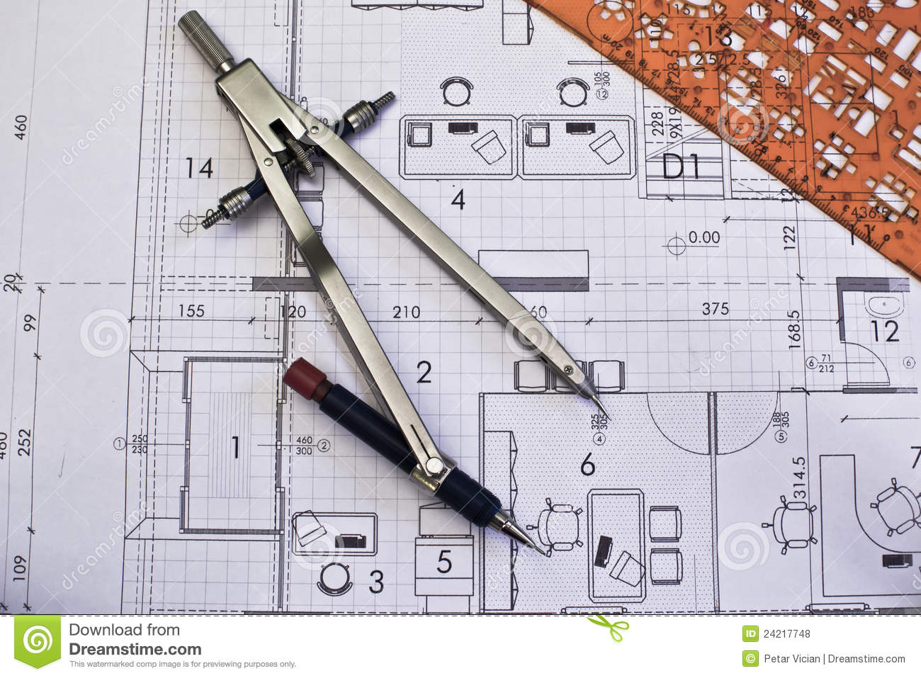Architectural Rolls And Blueprints Stock Photo Image