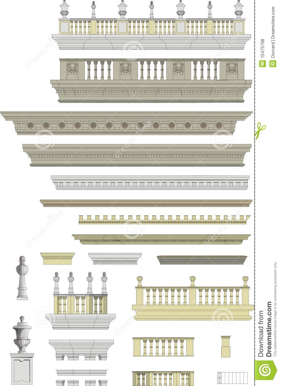 Details On Her 3 Shades Of: Architectural Roof Details, Moldings Royalty Free Stock