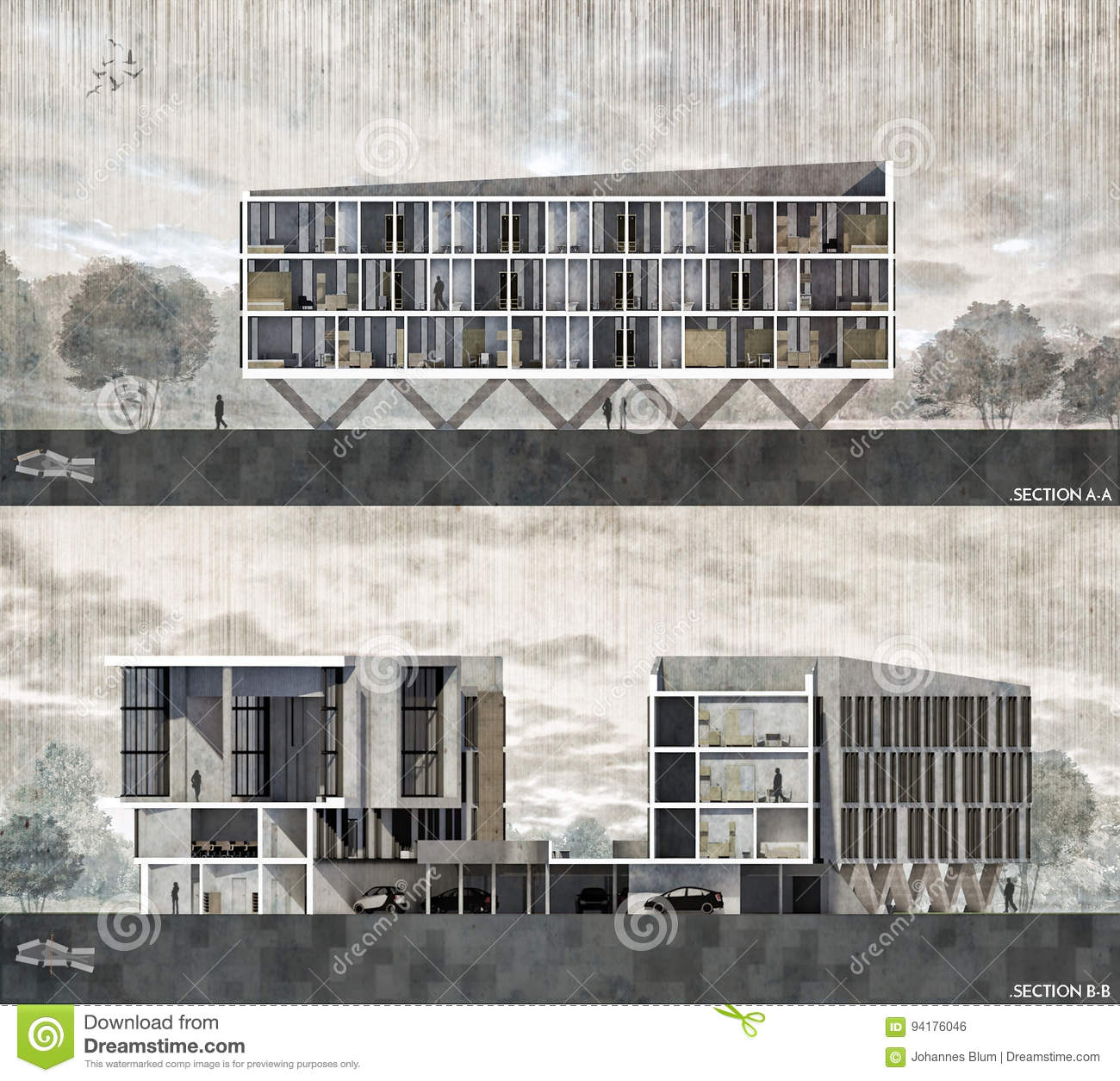 Architectural section rendering stock illustration for Rendering gratis