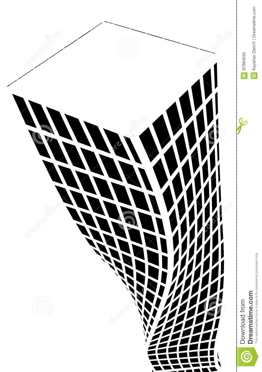 Architectural Silhouette And Coloring Stock Vector