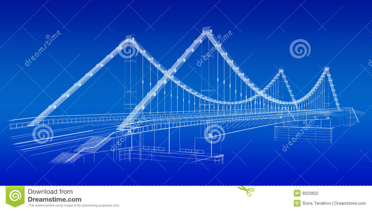 architectural sketch  bridge in blue stock illustration