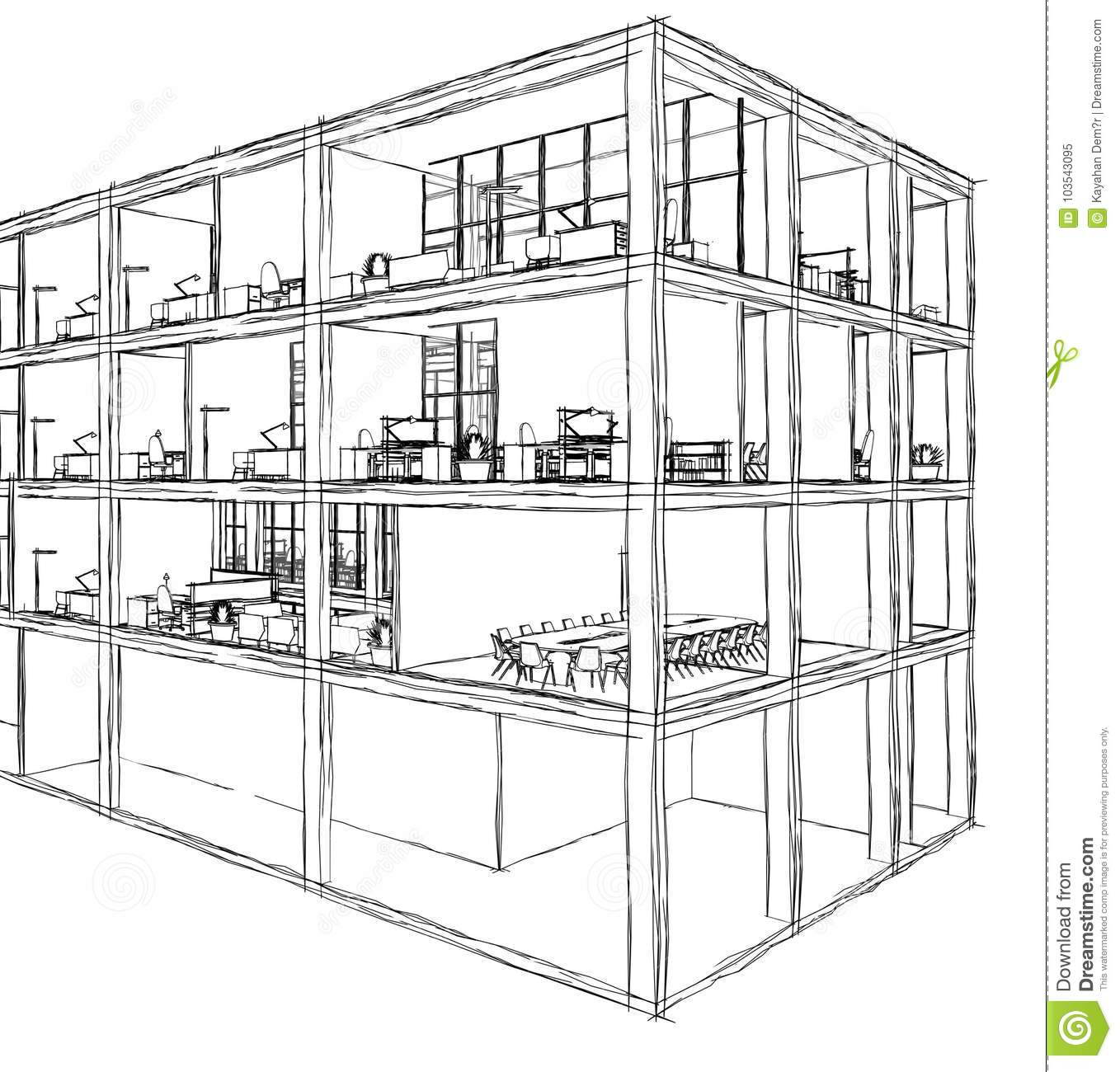 Architectural Sketch Drawing Building Model Stock