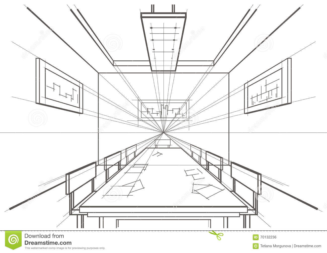 Conference Room Interior With Sketch Stock Illustration Image