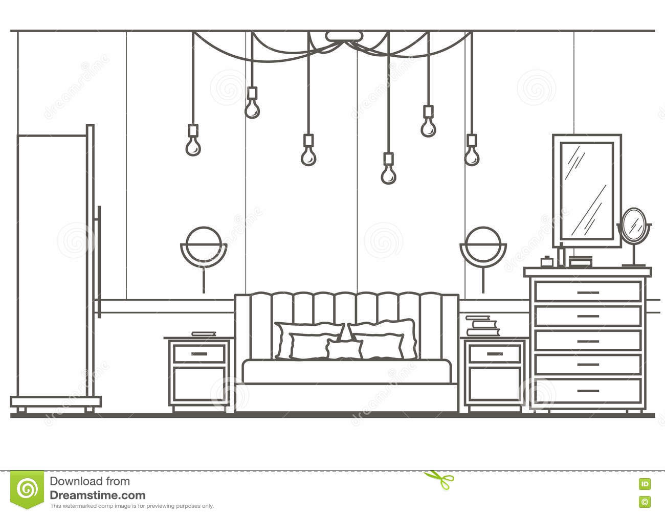 Architectural sketch interior modern bedroom front view stock vector