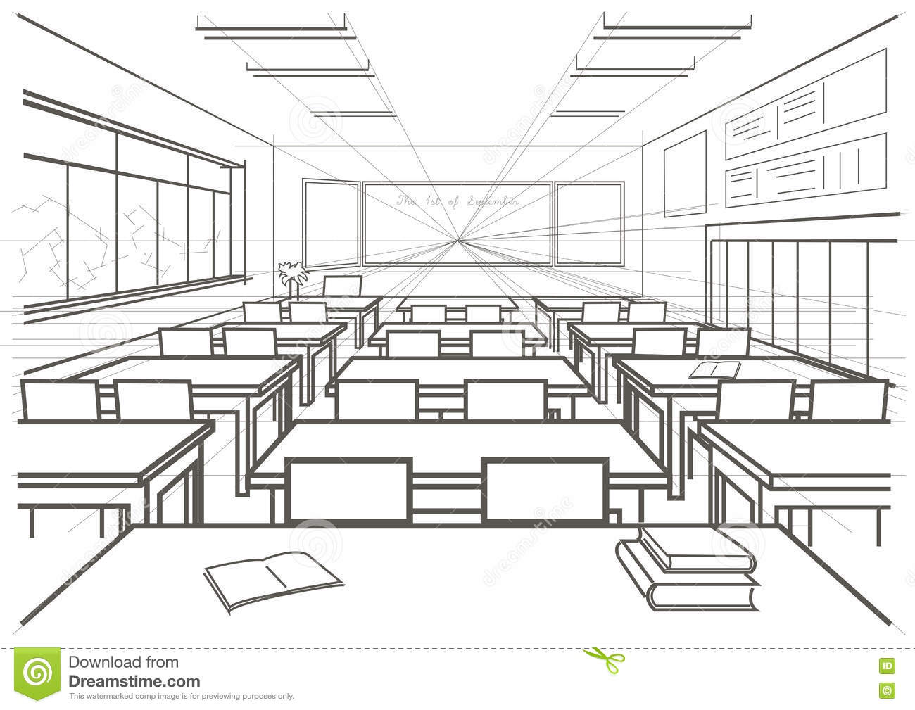 Royalty free vector download architectural sketch interior school
