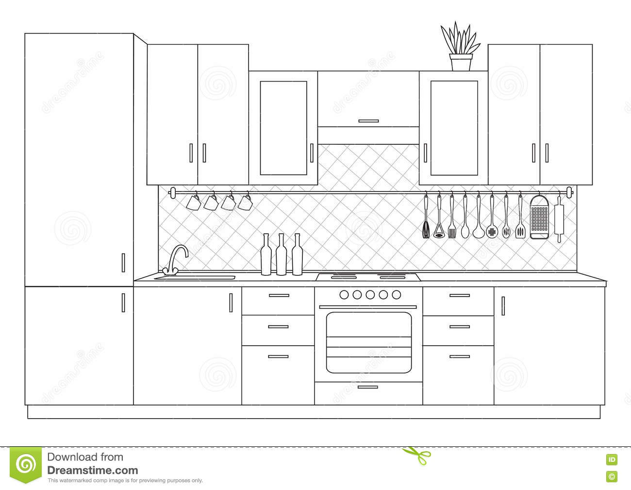 Architectural Sketch Interior Small Kitchen Front View
