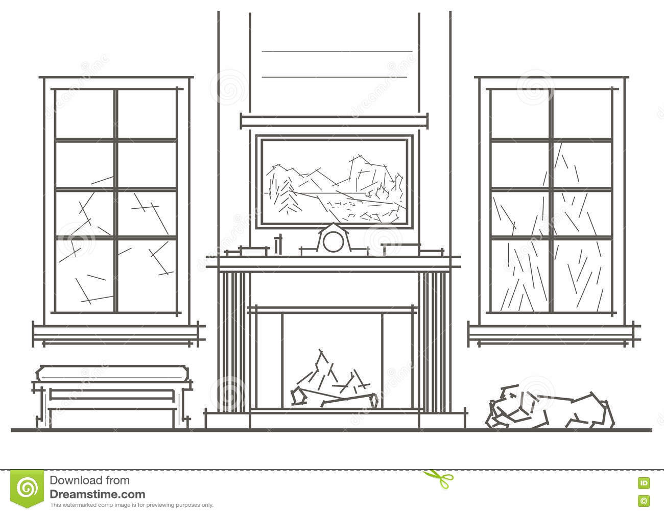 Architectural sketch living room interior with chimney front view stock vector