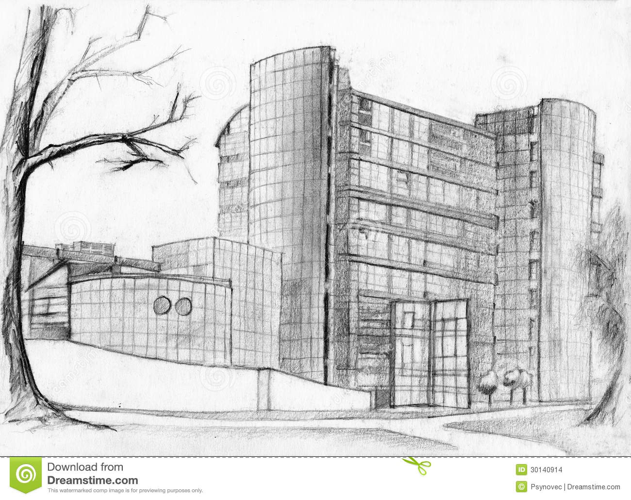 Download Bank Building Sketch Stock Illustration Of Drawing