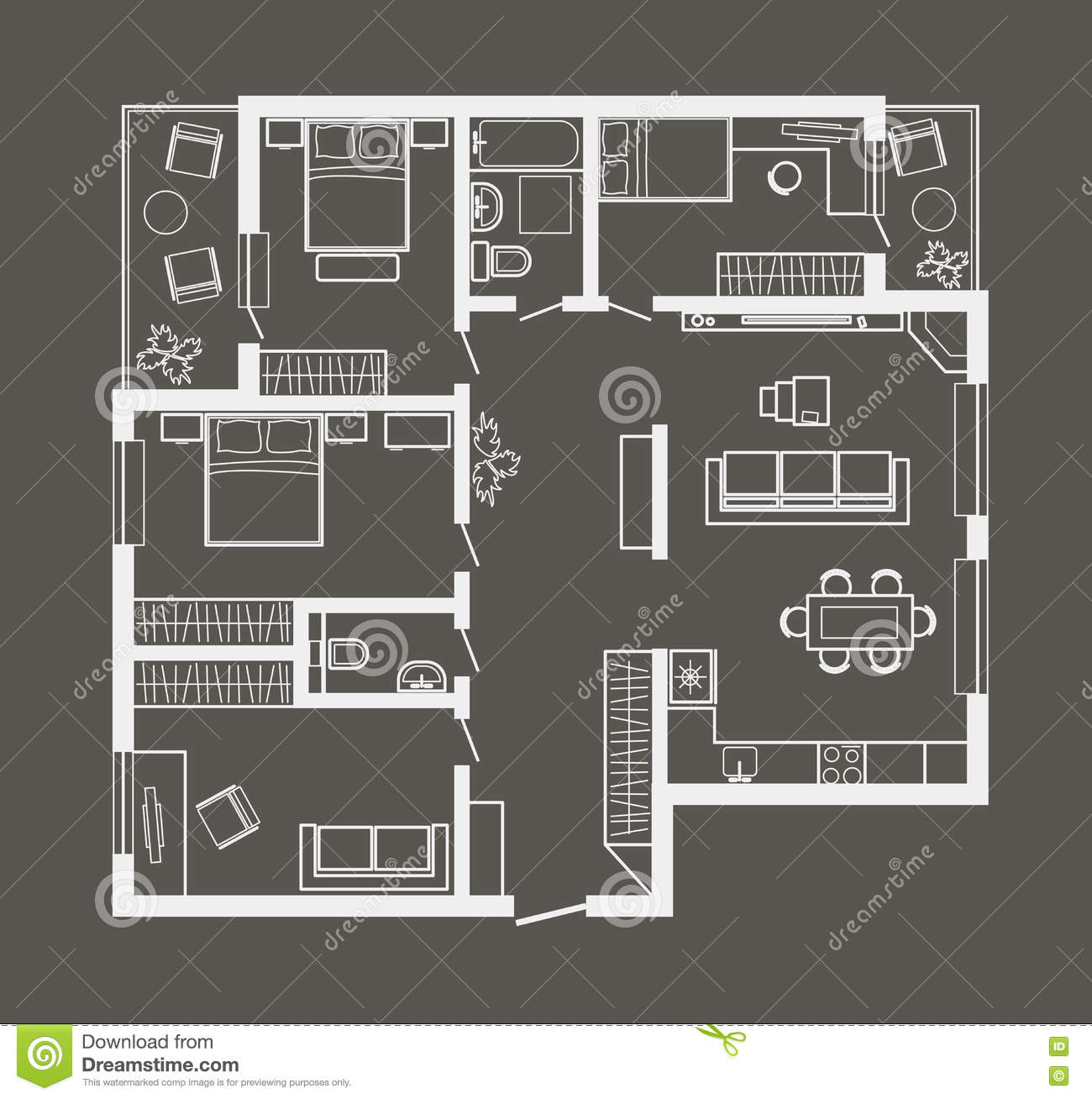 Four Bedroom Townhomes architectural sketch plan of four bedroom apartment on gray