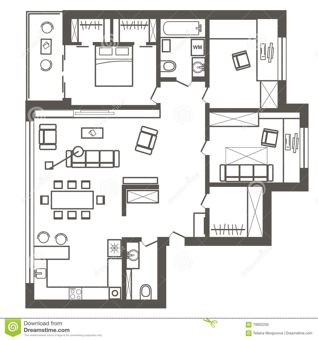 Architectural sketch plan of three bedroom apartment stock for Architectural designs for 3 bedroom flat