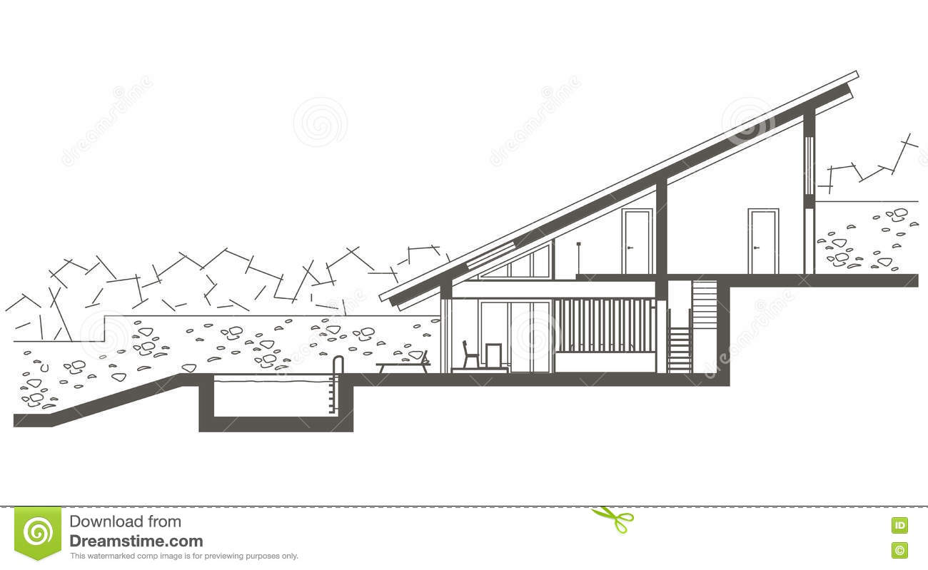 Architectural sketch two level house with swimming pool for Swimming pool sketch