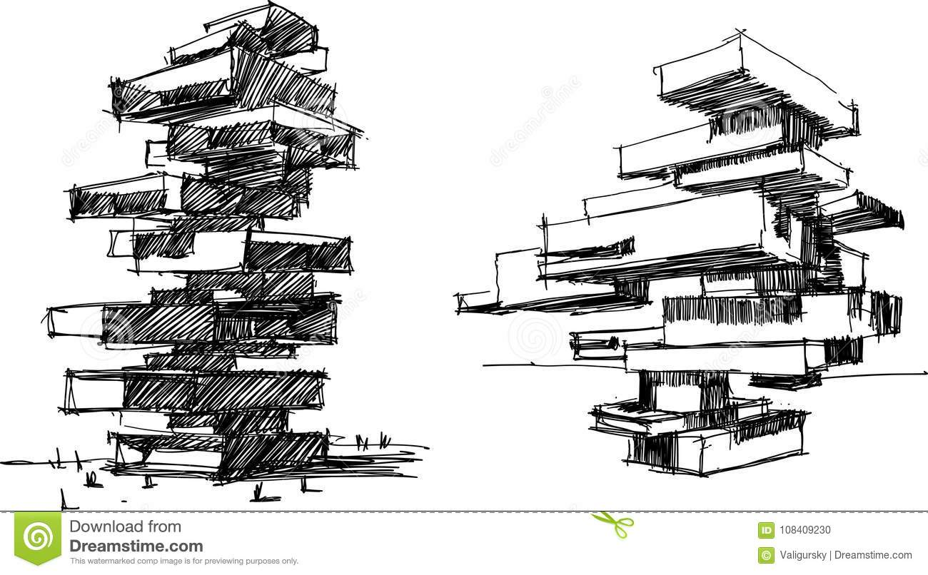 architectural buildings sketches. perfect buildings download architectural sketch of two modern abstract buildings stock vector   illustration of drawn drawing with sketches s