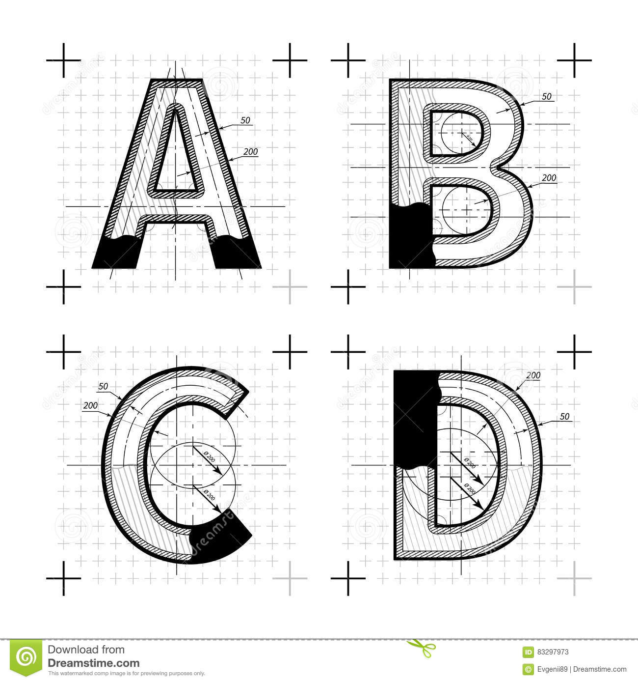 Architectural Sketches Of A B C D Letters Blueprint Style Font