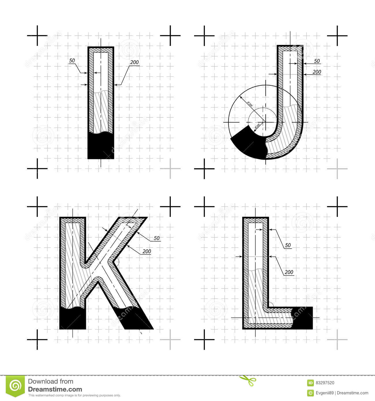 Architectural sketches of i j k l letters blueprint style font architectural sketches of i j k l letters blueprint style font malvernweather Image collections