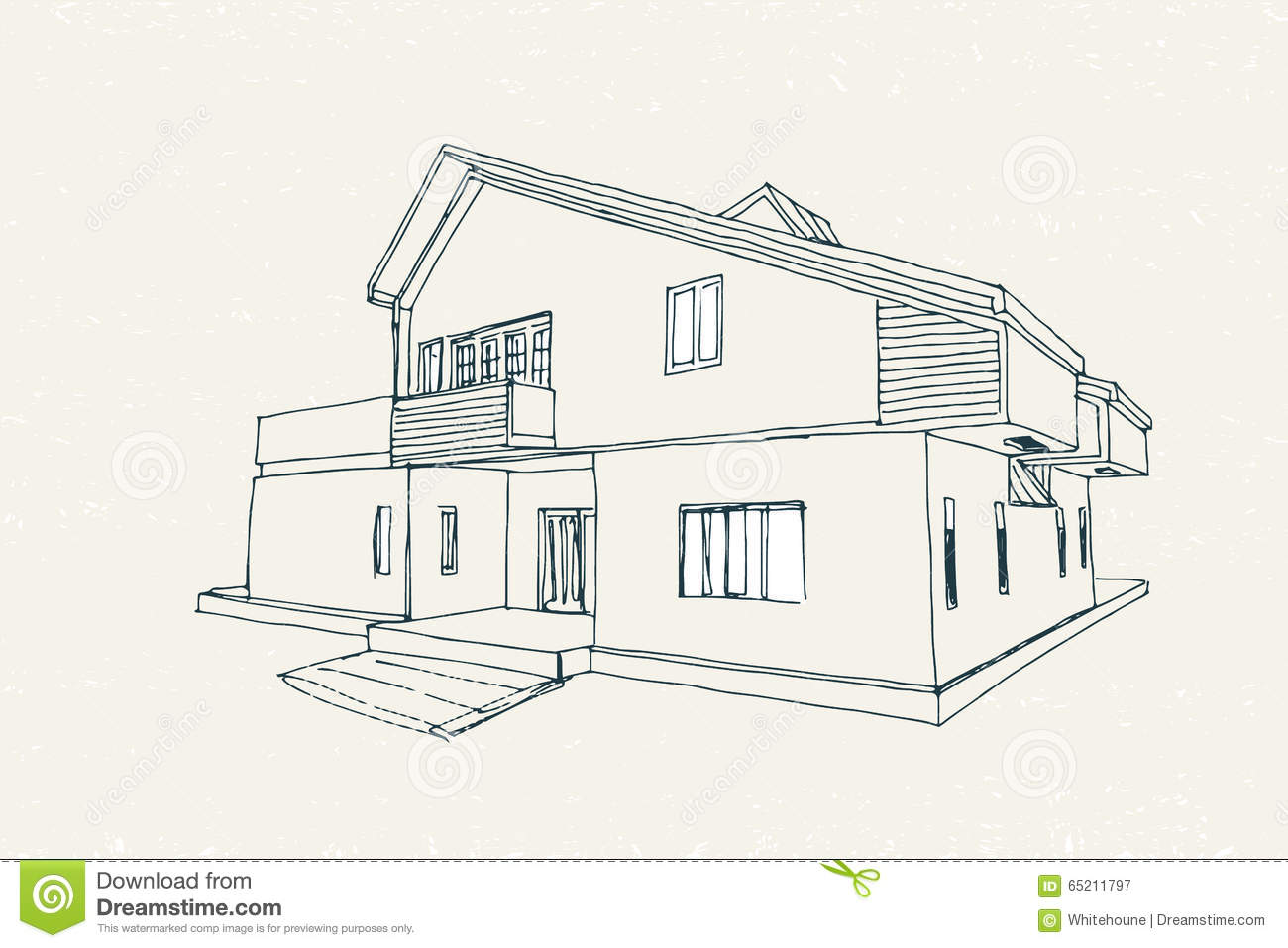 Vector architectural sketch of two storey house with balcony