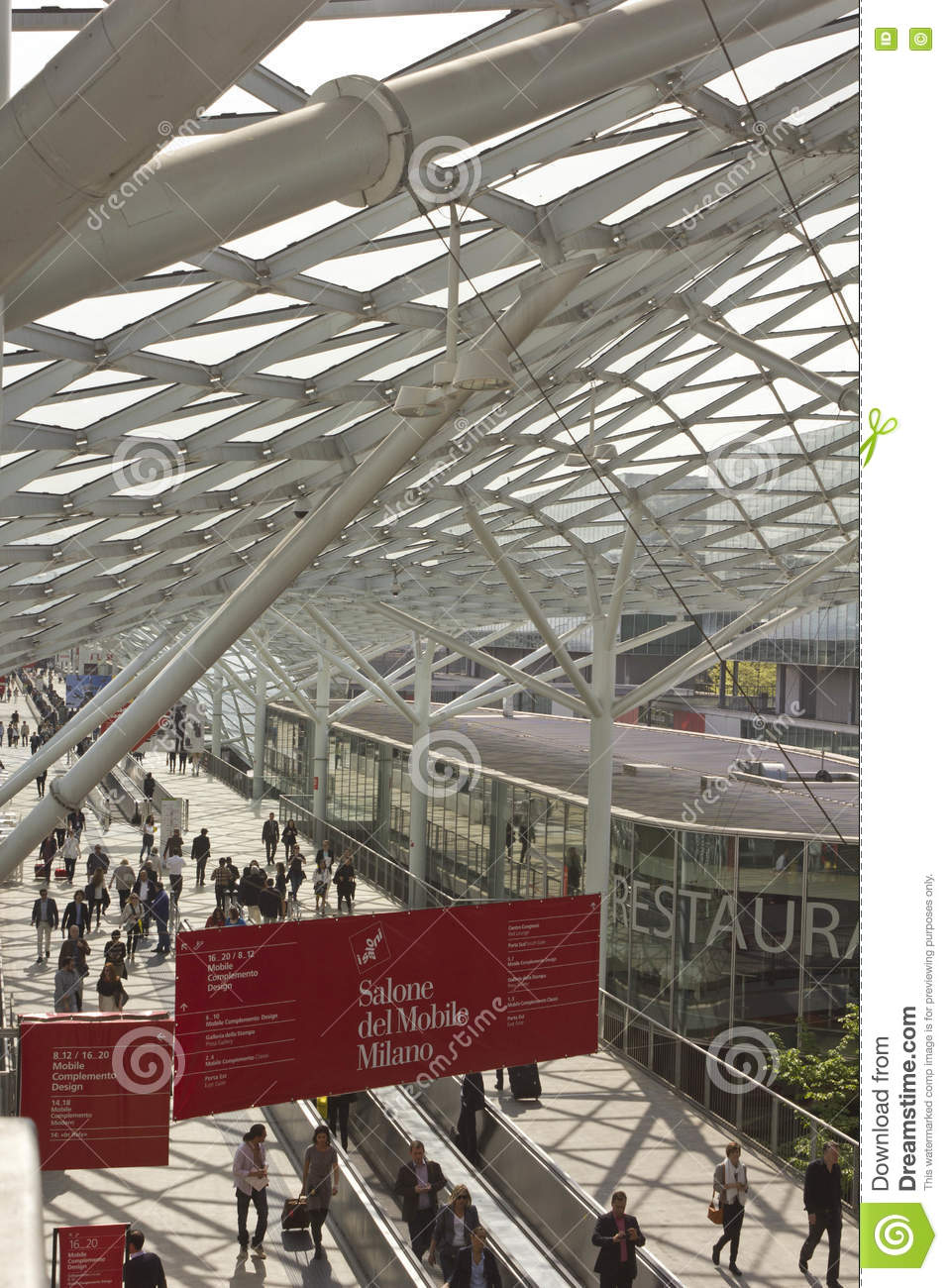 Architectural view of the covered glass roof of Fiera Milano