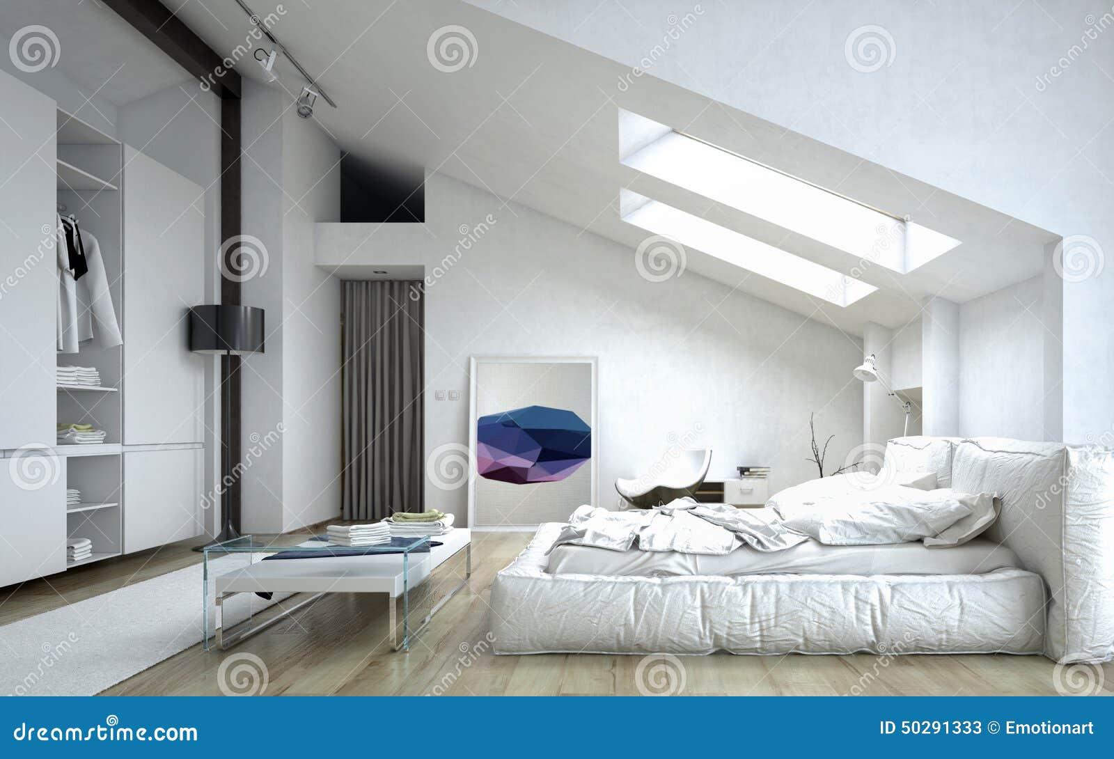 Architecturale slaapkamer binnen wit huis stock illustratie ...