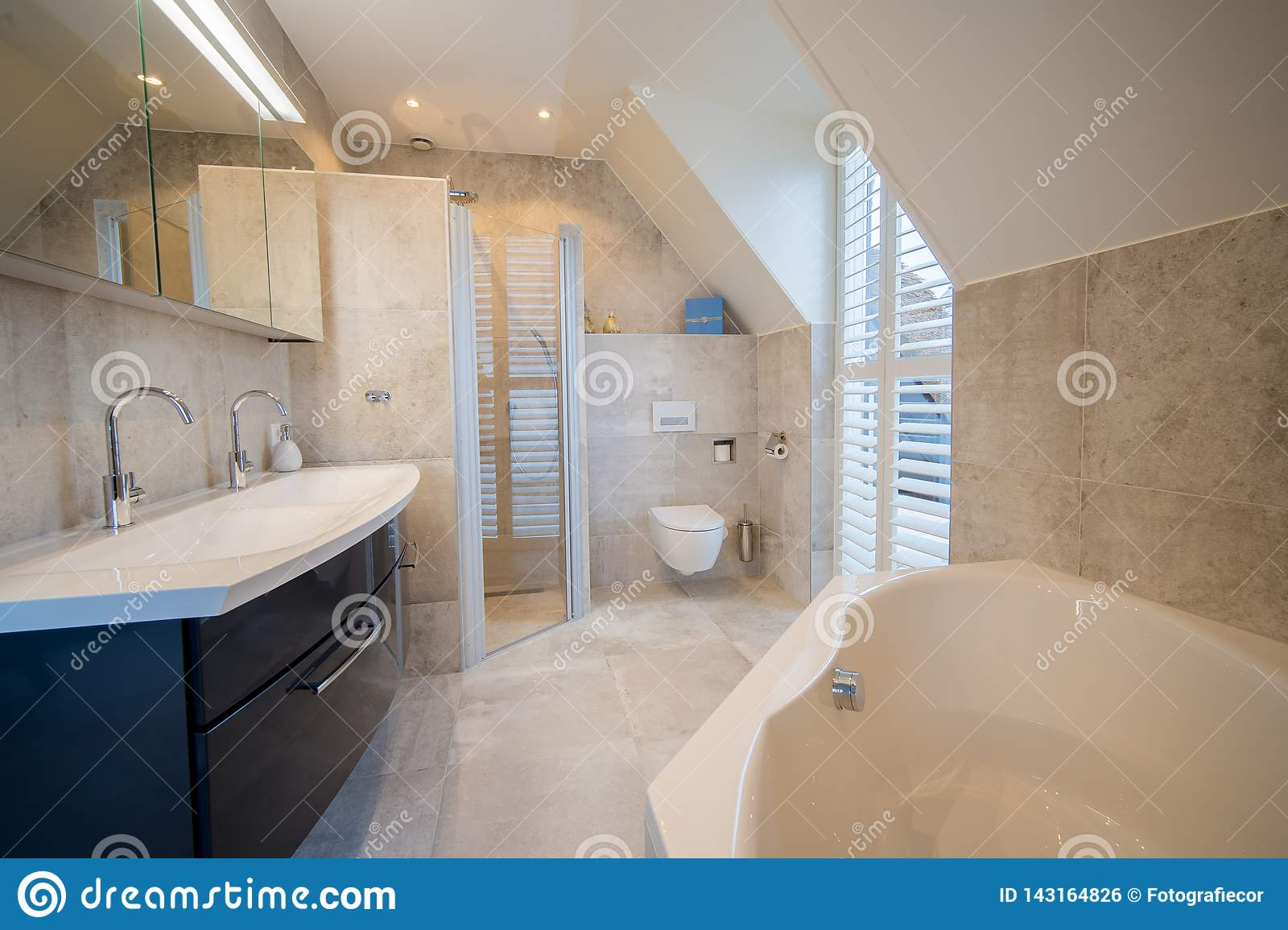 Architecturally Built Bathroom With Luxury Tiling White