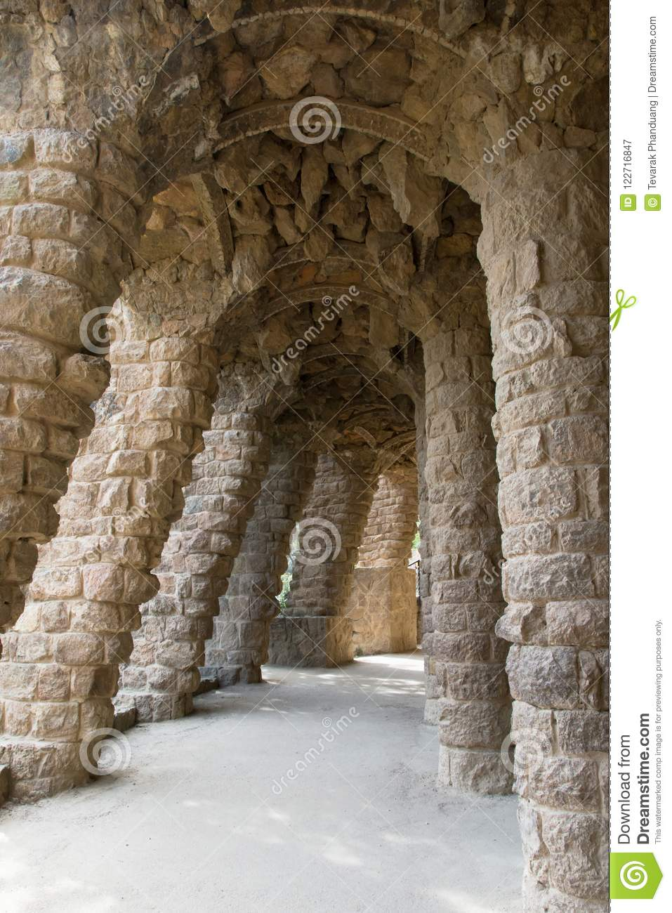 The Architecture of Antonio Gaudi inside Park Guell