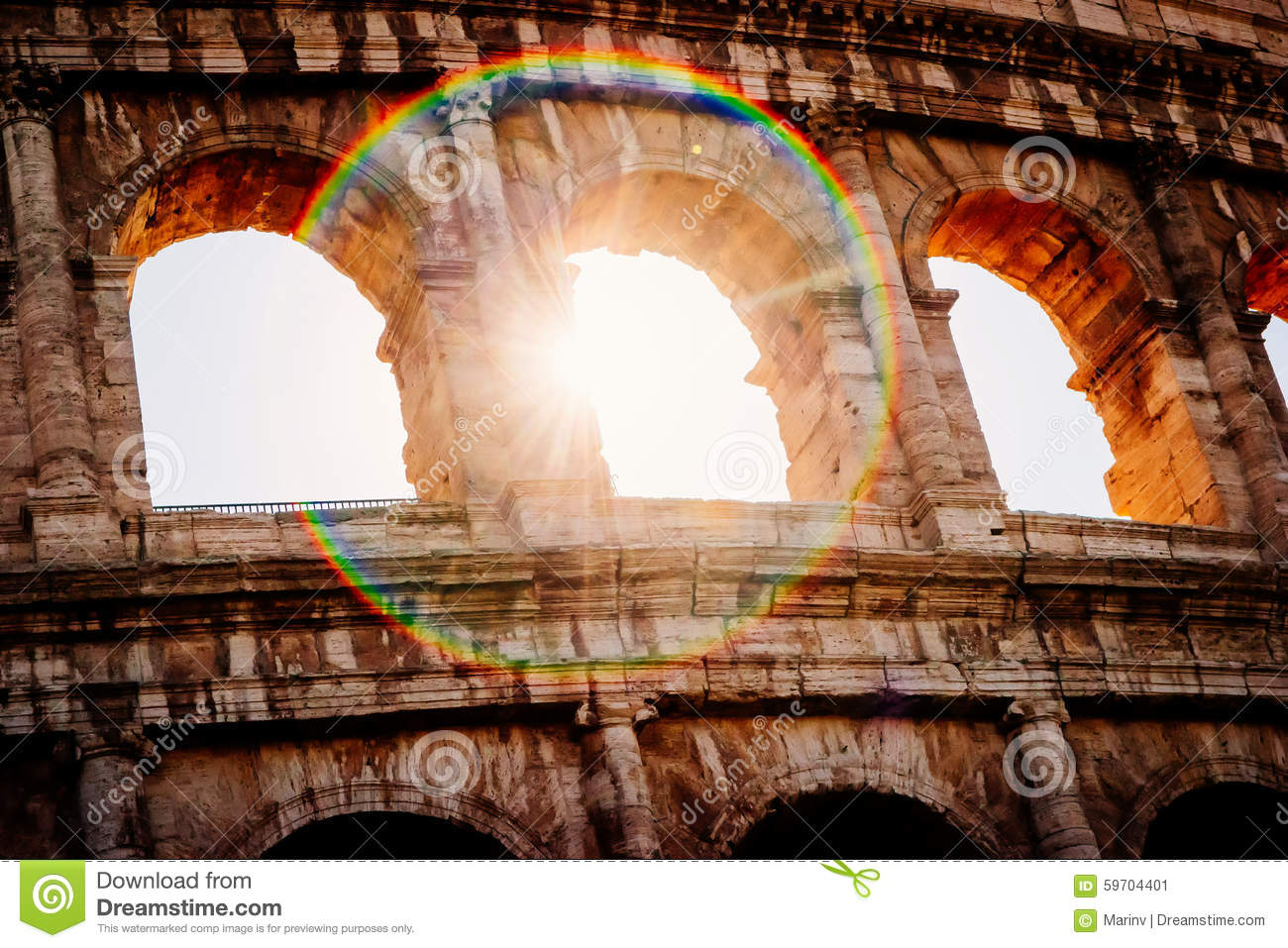 Architecture and arches of the Colosseum in Rome, Italy