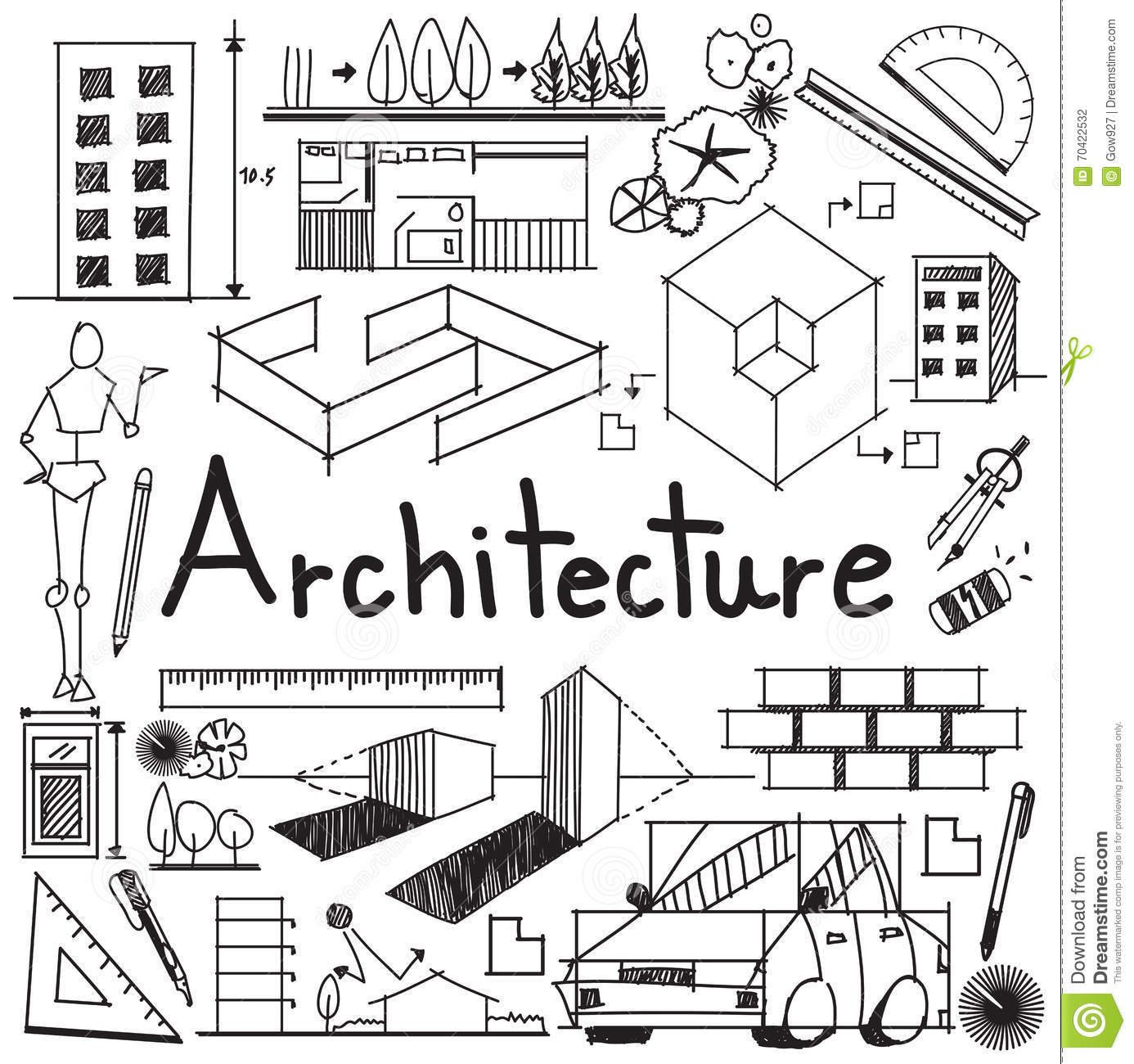 Architecture And Architect Design Building Exterior Doodle Icon