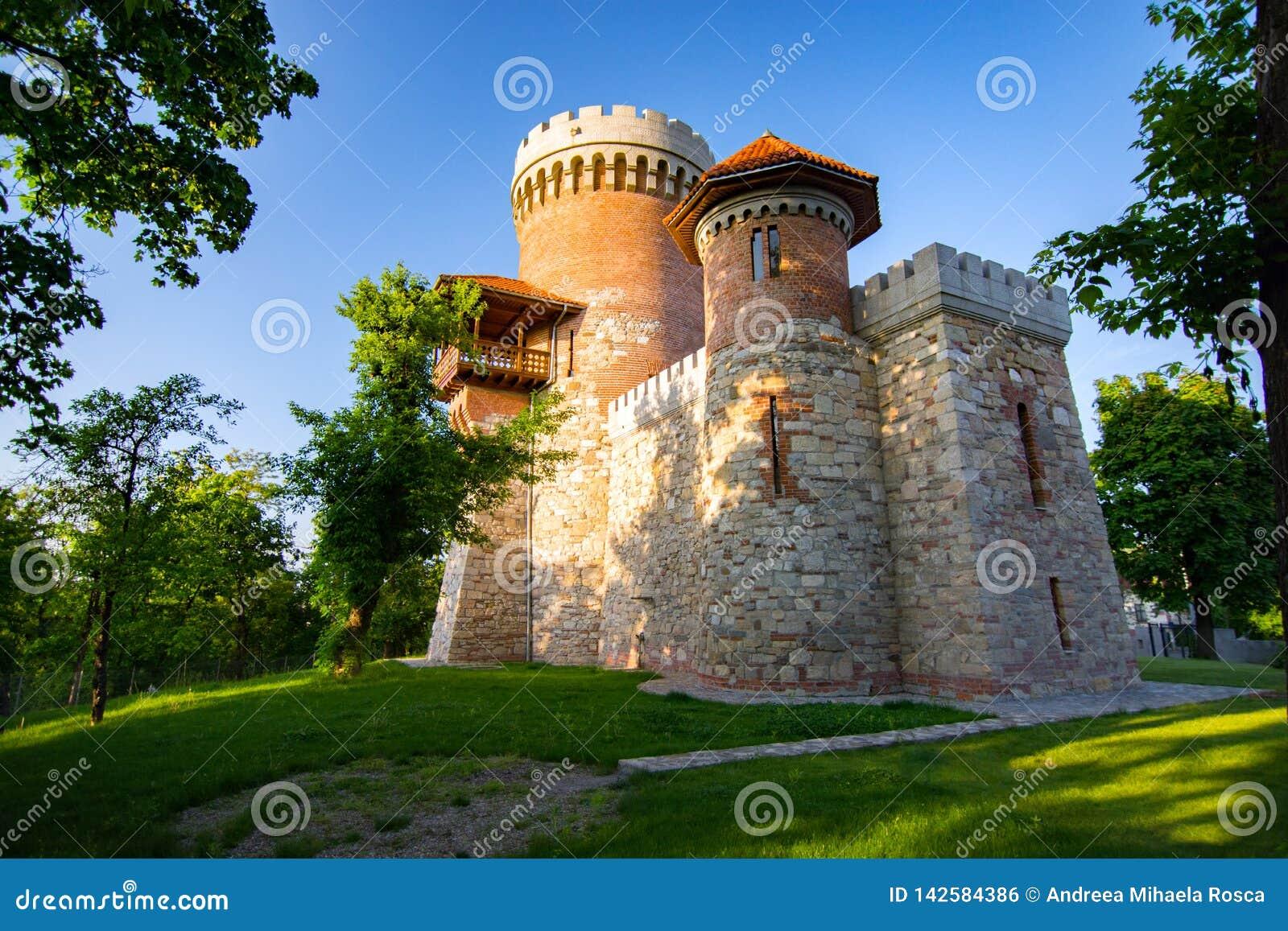Architecture atmosphérique de château de Vlad Tepes en parc de Carol de Bucarest