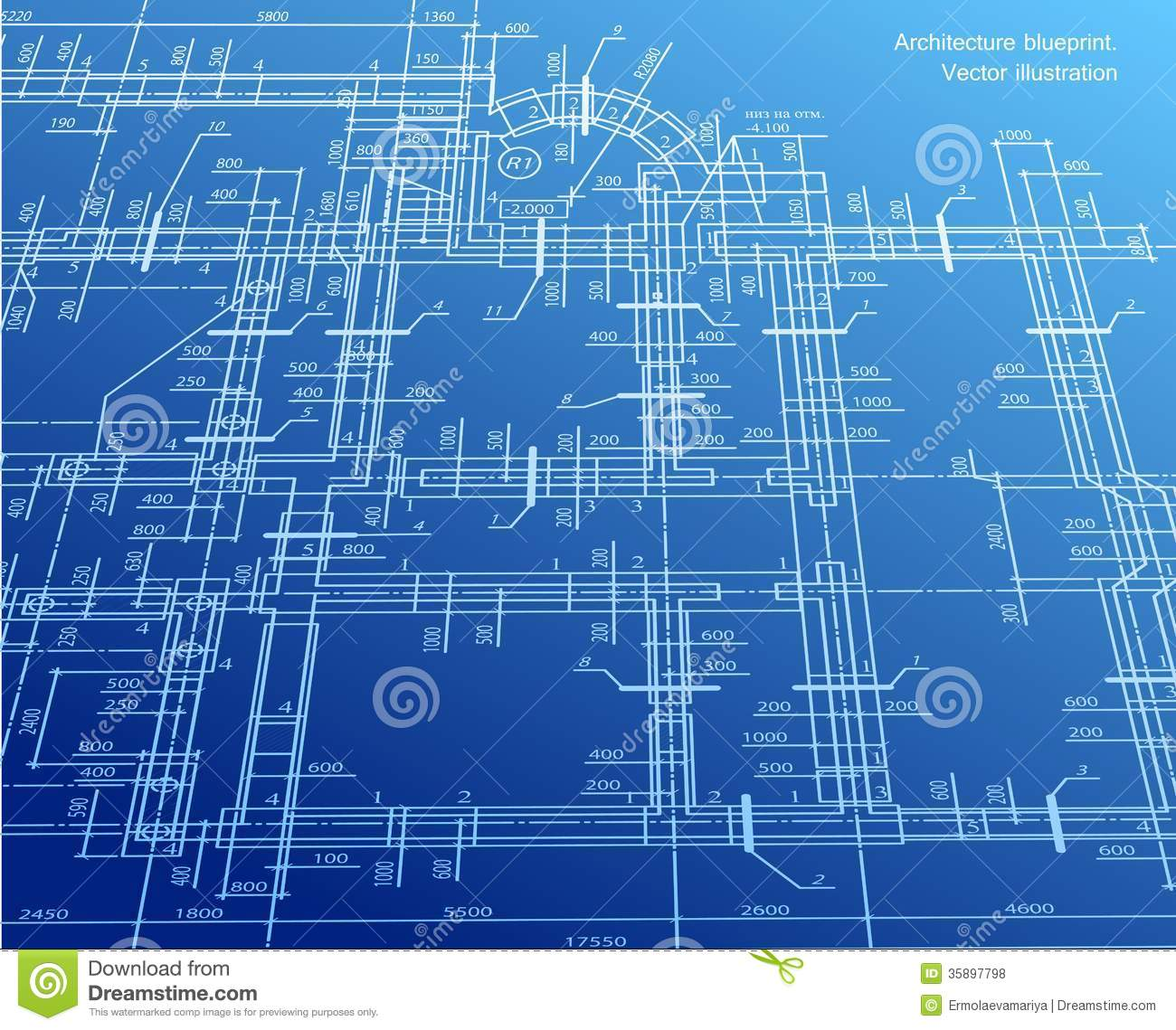Architecture blueprint background vector royalty free for House blueprint images