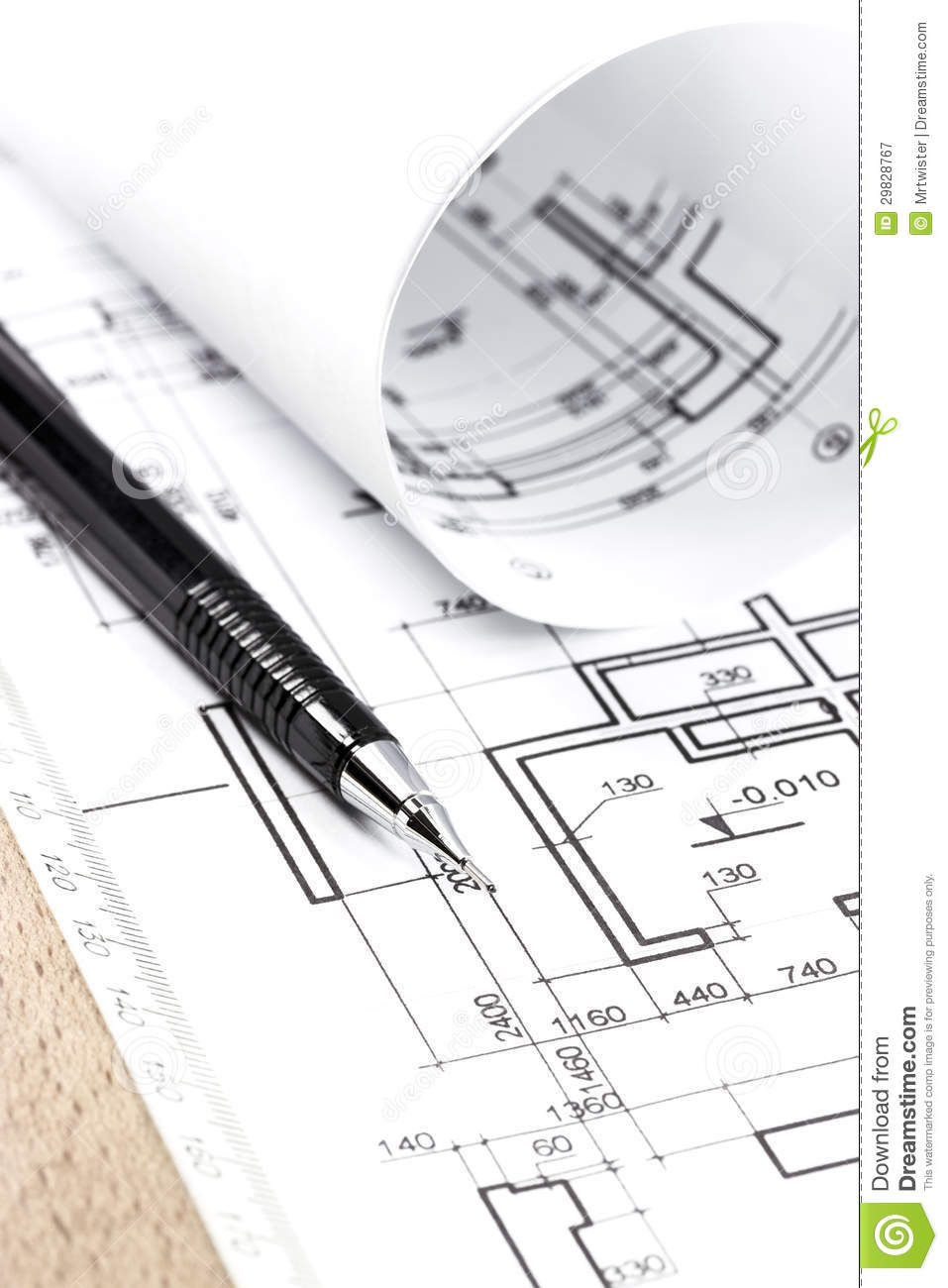 Architecture Draw And Instruments Royalty Free Stock Photography Image 29828767