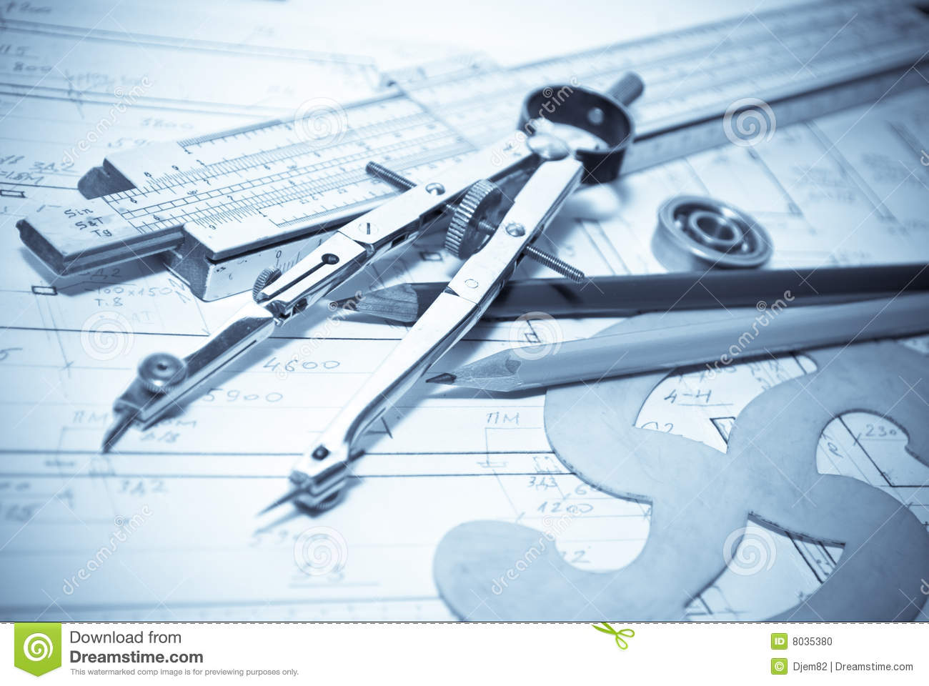 Architecture blueprint tools stock photo image 8035380 for Architecture design tools free