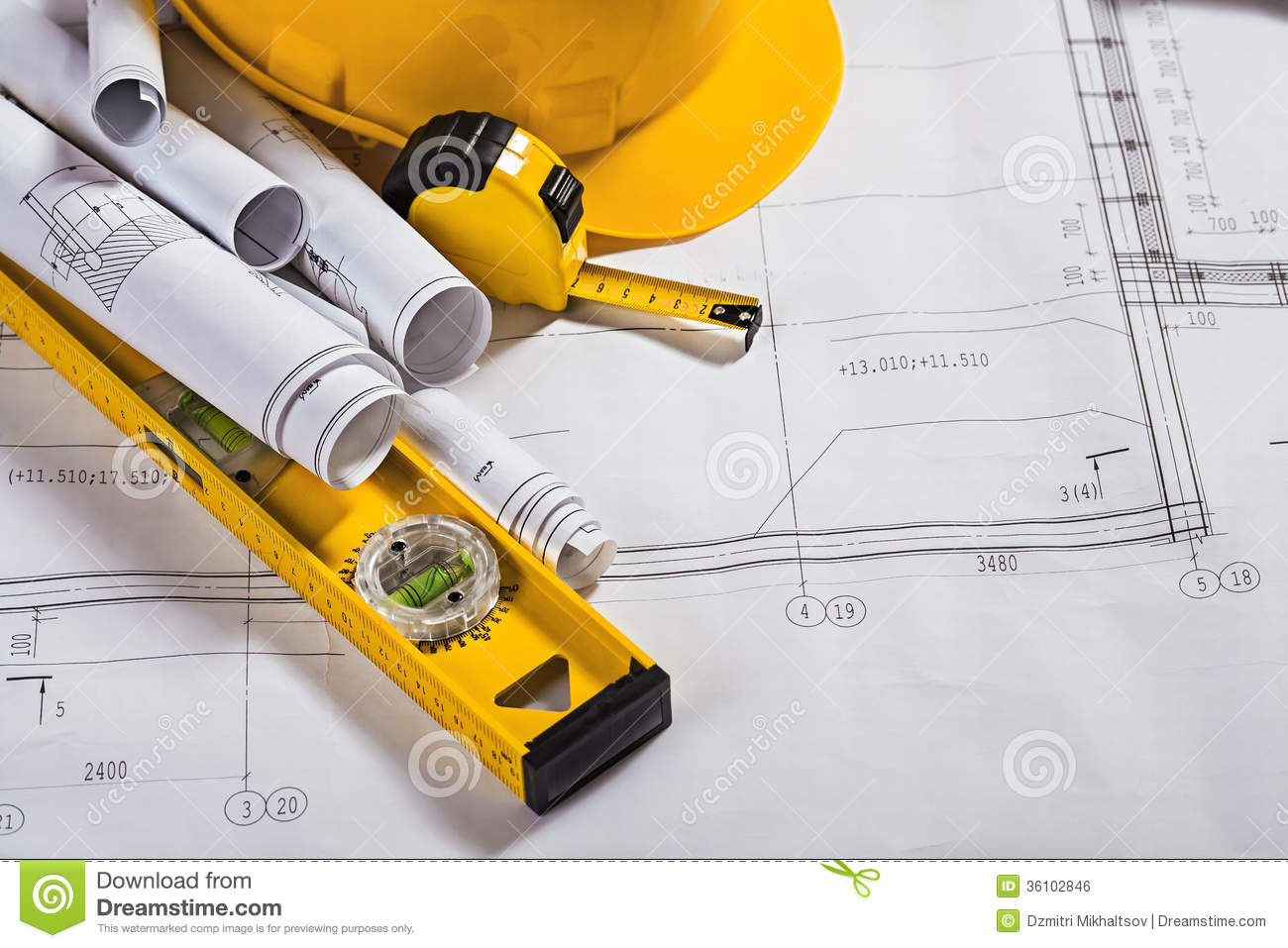 architecture blueprints and work tool royalty stock image architecture blueprints and work tool