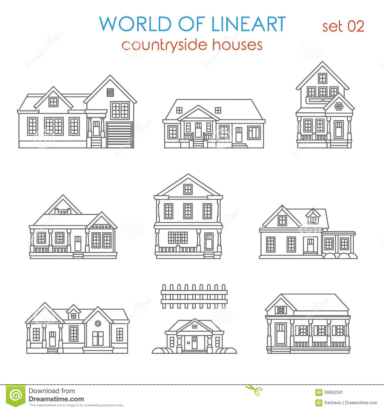 Line Art Images Of Houses : Architecture countryside house townhouse lineart vector