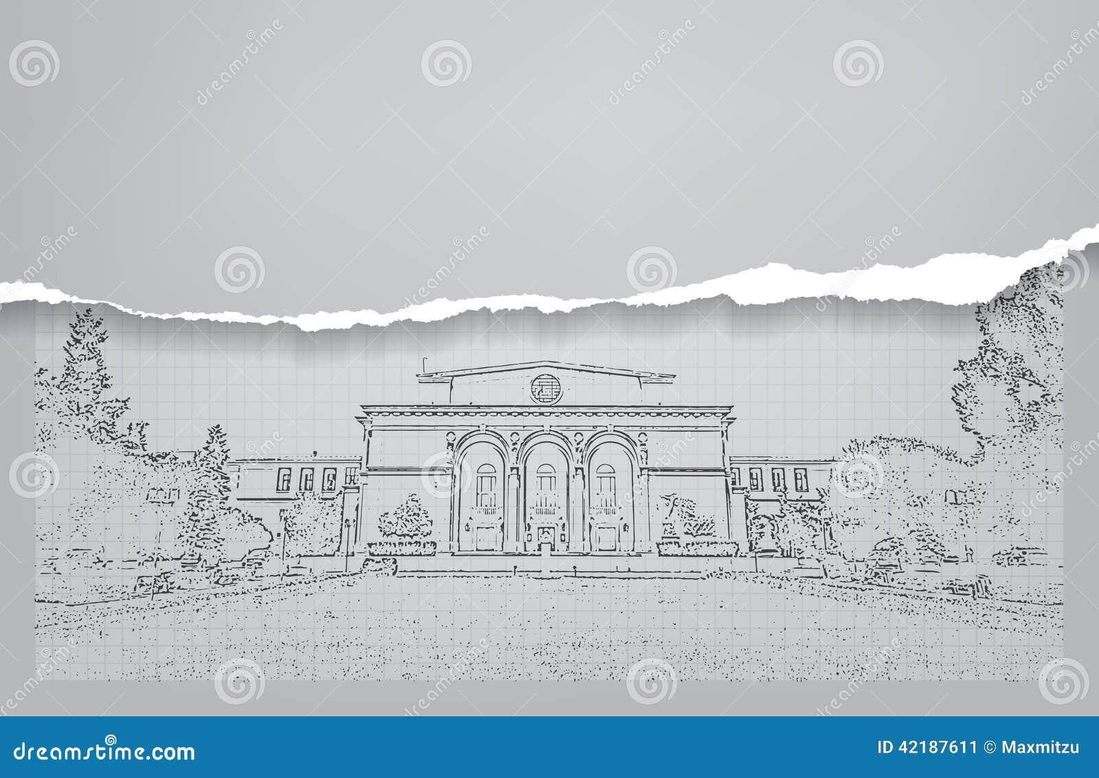 Architecture croquis dessin du b timent for Dessin batiment 3d