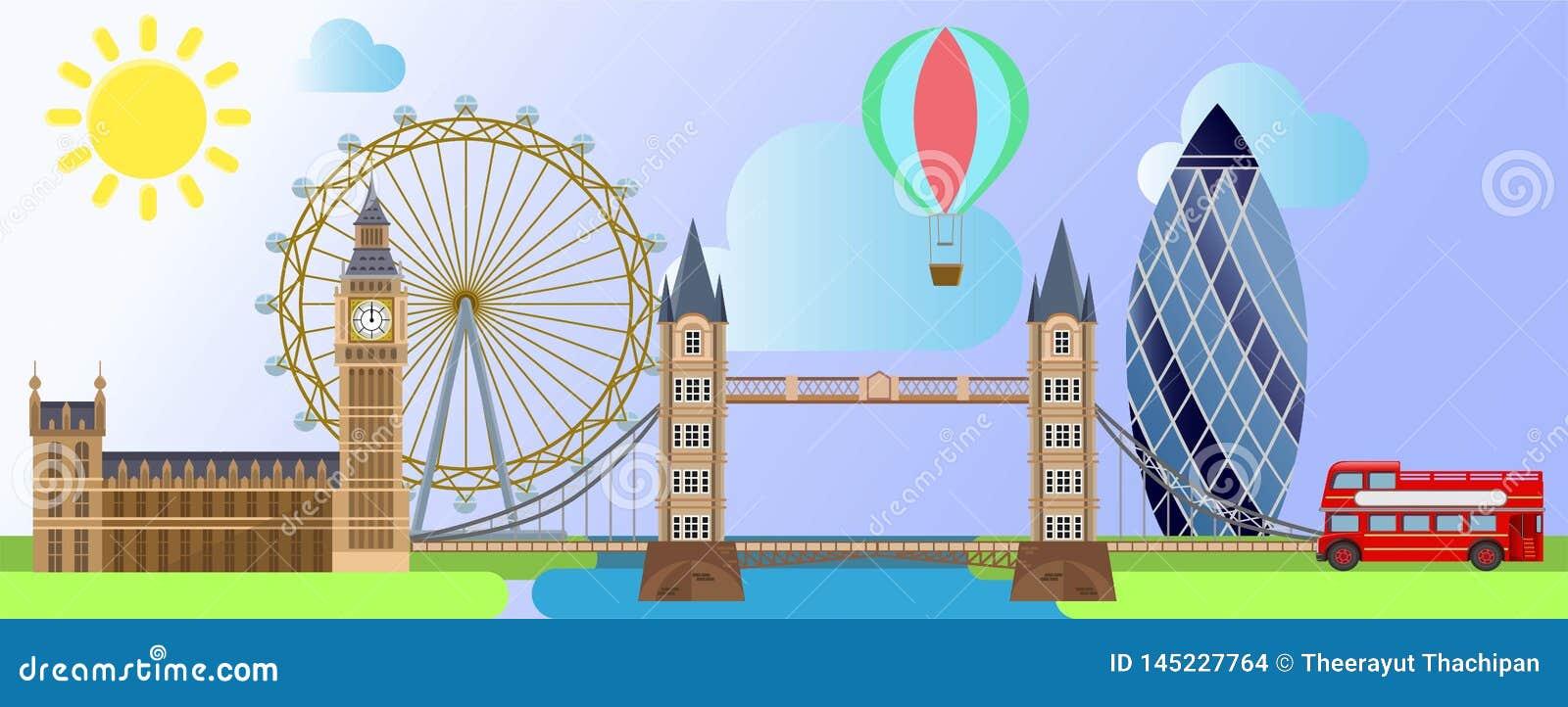 Architecture de Londres comme la roue d oeil de Londres, le palais de Westminster, le ballon de touristes sur le soleil et le fon