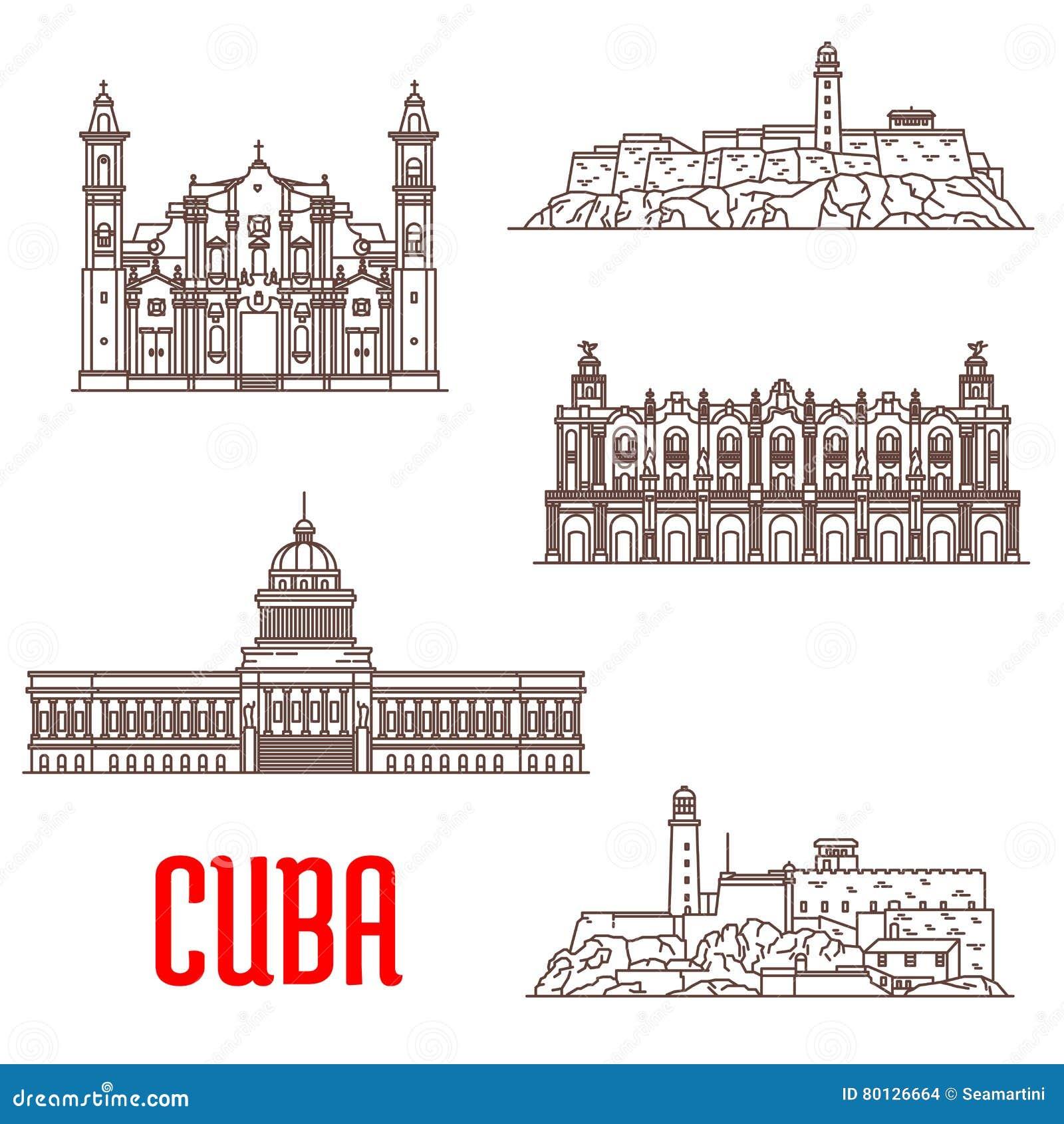 Architecture de touristes du Cuba, icônes d attraction de voyage
