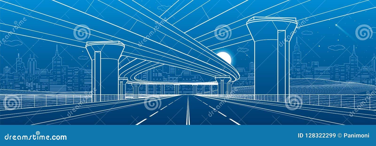 Architecture de ville et illustration d infrastructure, passage supérieur des véhicules à moteur, grands ponts, scène urbaine Vil