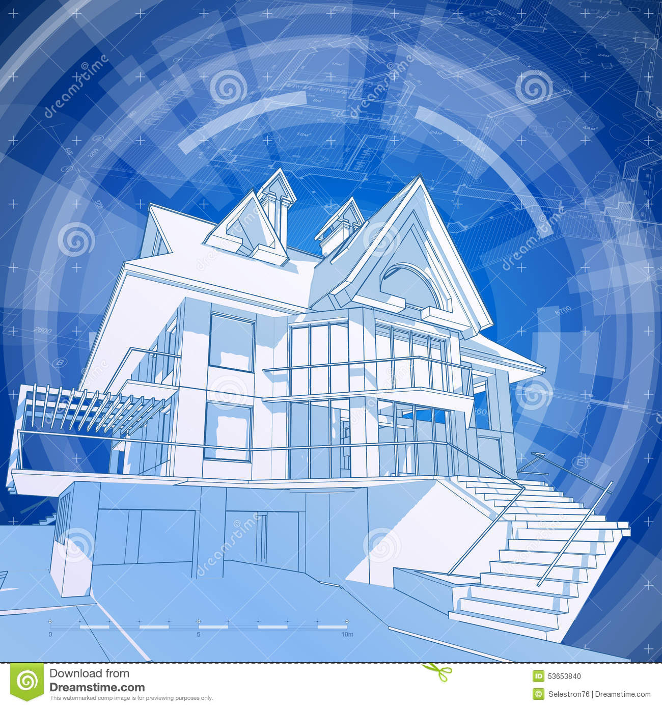 Architecture Design Blueprint 3d House Stock Photo