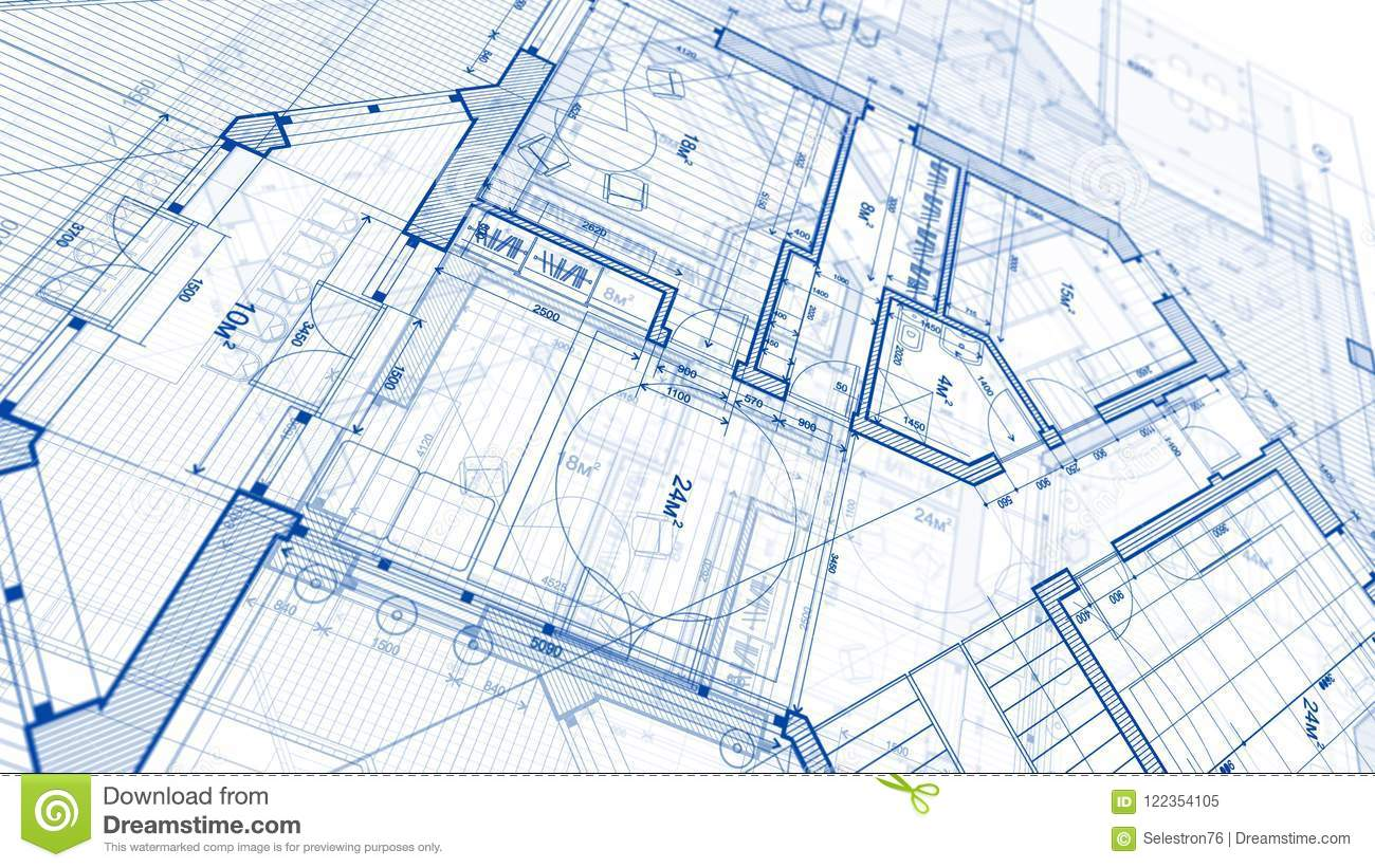 Architecture design blueprint plan illustration of a plan modern residential building technology industry business concept illustration real estate