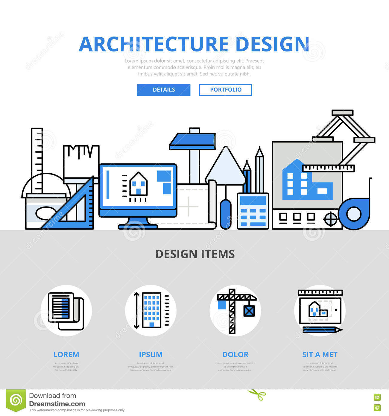 Architecture design concept flat line art vector icons for Architecture design websites free