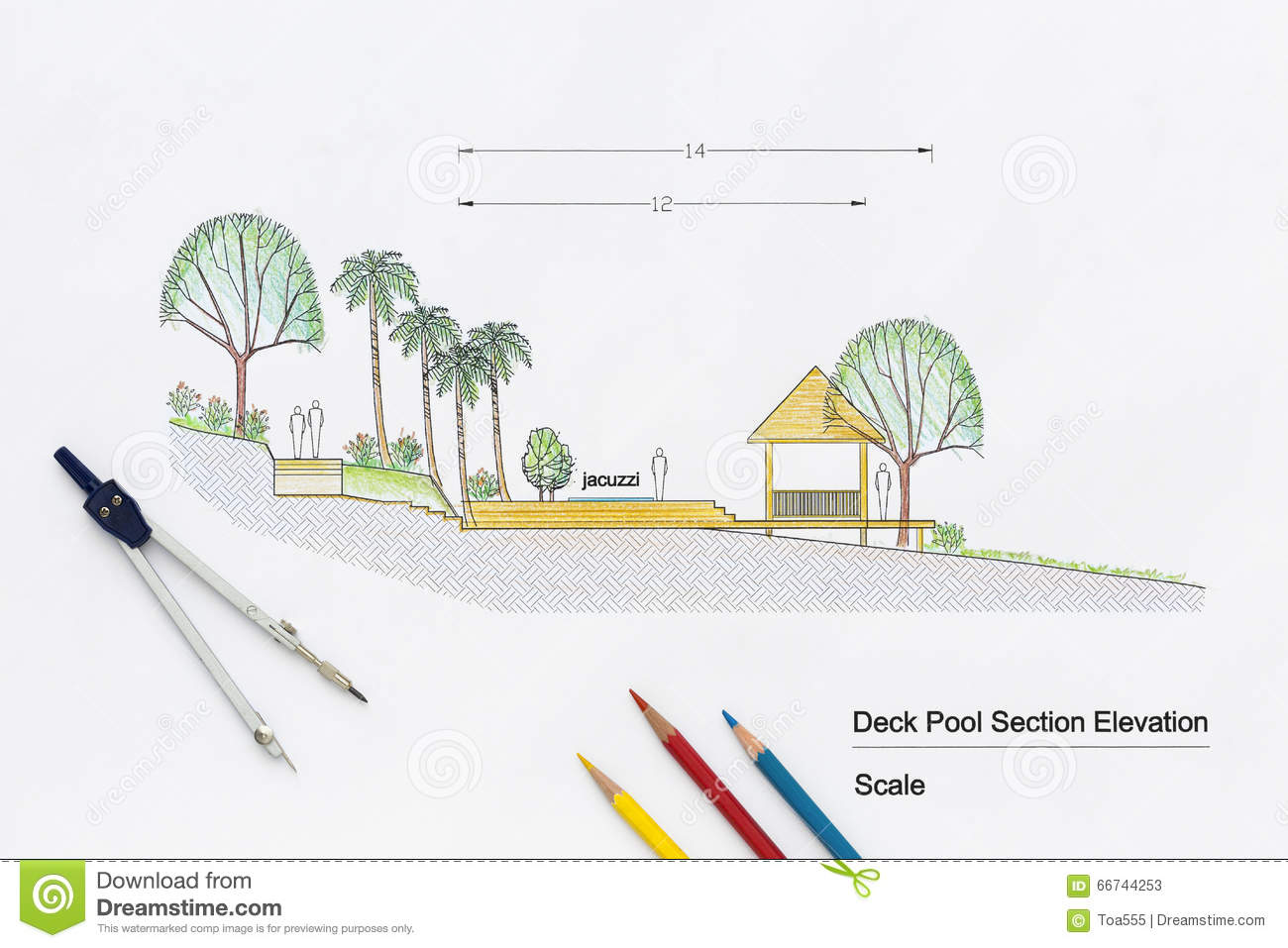Architecture design deck pool section elevation stock image image download architecture design deck pool section elevation stock image image of elevation blueprint malvernweather Choice Image