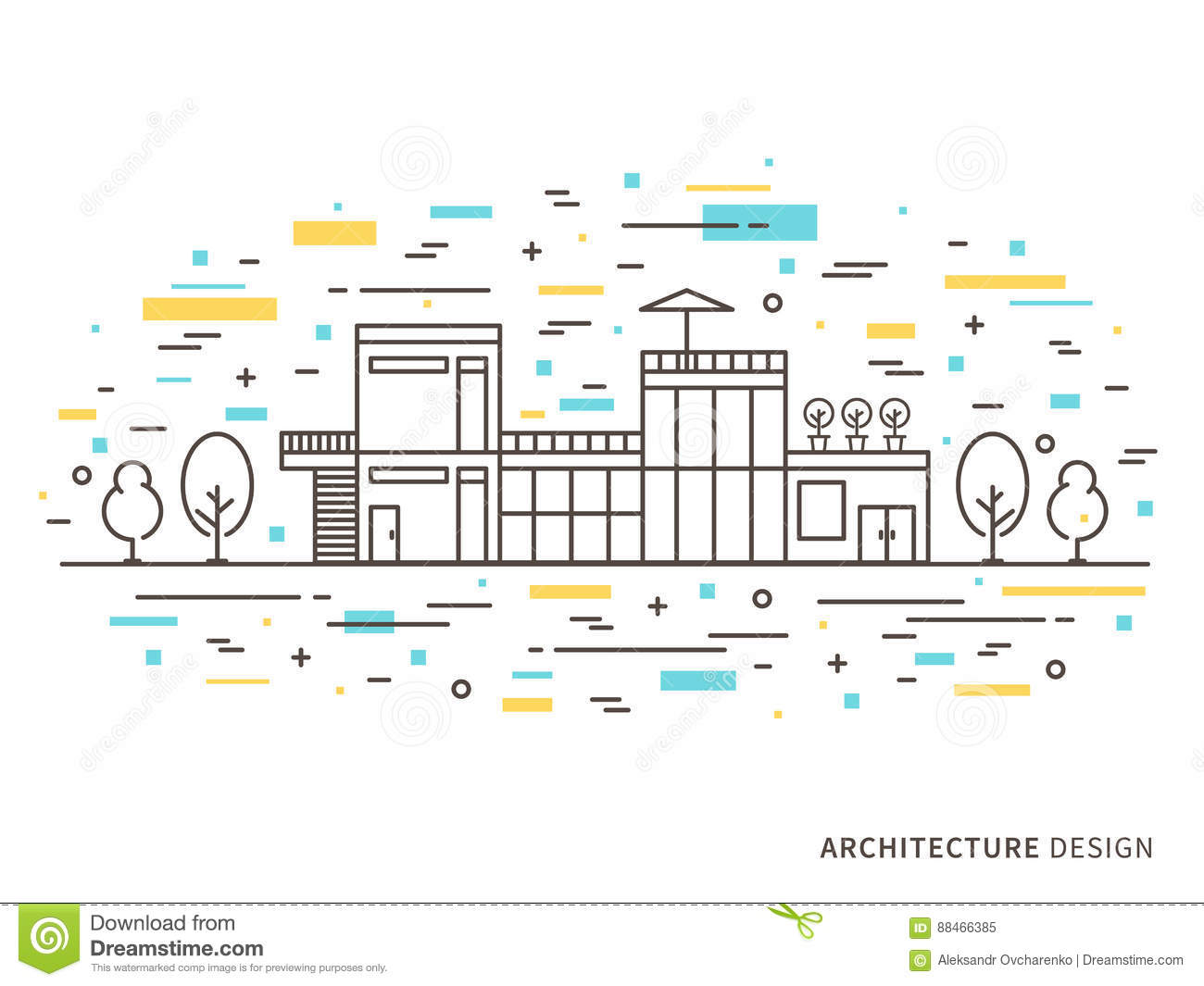 Architecture Design Illustration Of Modern House Stock Vector