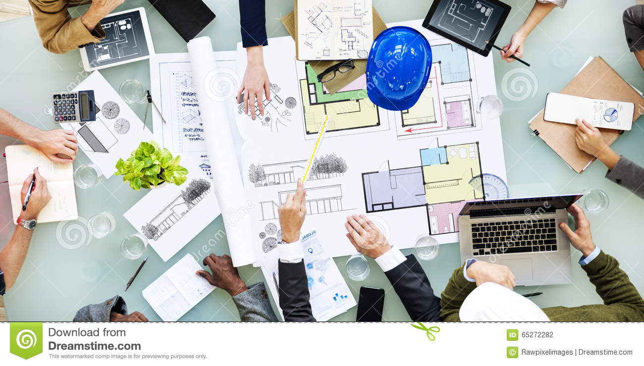Architecture Design Messy Interior Meeting Concept Stock